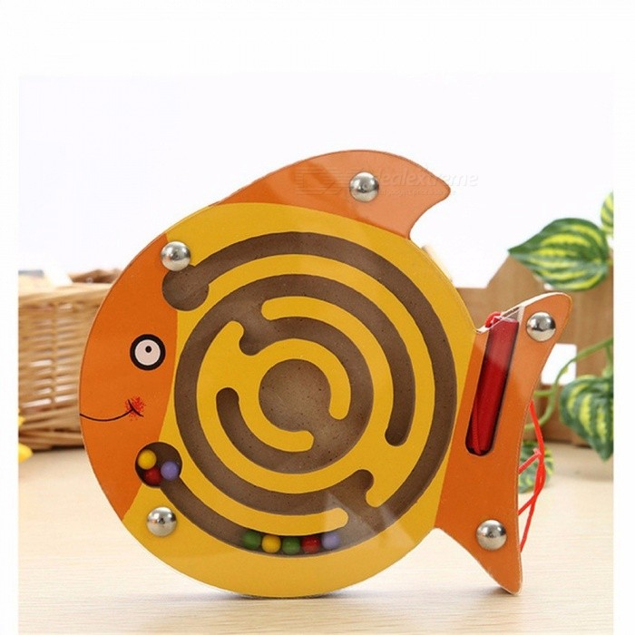 Simingyou Wooden Toys Puzzle Animal Magnetic Maze Kids Toy Intellectual Jigsaw Board Game For Children Wood Toy D10 Gold