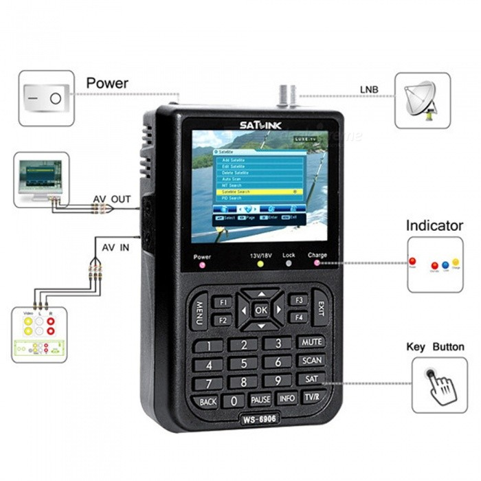 ZHAOYAO DVB-S FTA Digital Satellite Instrument, Satellite Detector Finder with 3.5 LCD Screen