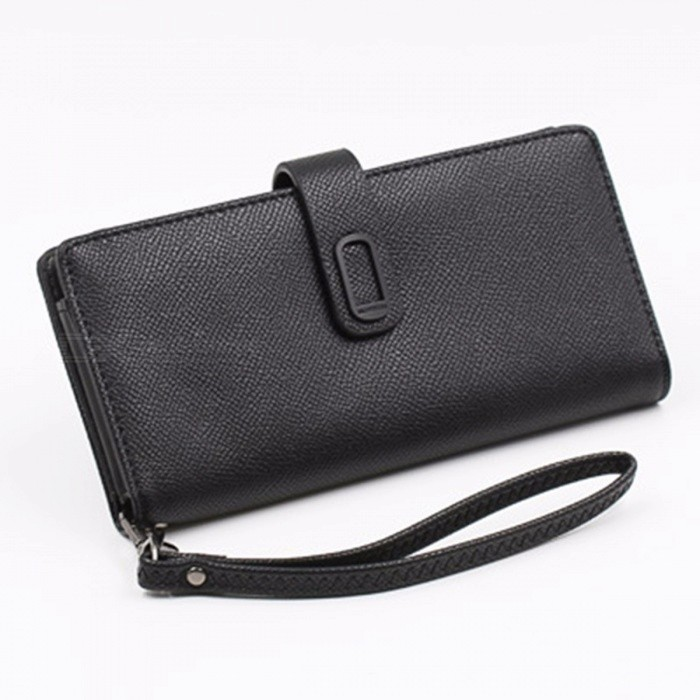 Simple Fresh Style PU Leather Long Wallet For Women, Zipper Hasp Purse / Phone Bag With Card Holder Black