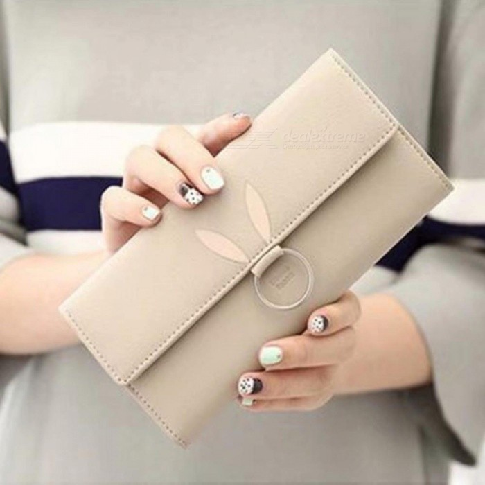 Fashion PU Leather Multi-card-holder Triple-Folding Women Long Section Rabbit Ears Wallet, Phone Bag Purse