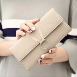 Fashion-PU-Leather-Multi-card-holder-Triple-Folding-Women-Long-Section-Rabbit-Ears-Wallet-Phone-Bag-Purse