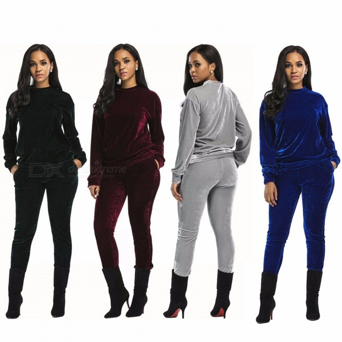 Autumn Winter Casual Sports Clothes Set Womens Sweatshirt Pleuche Sweatshirts + Pants Activewear Suit Gray/XL