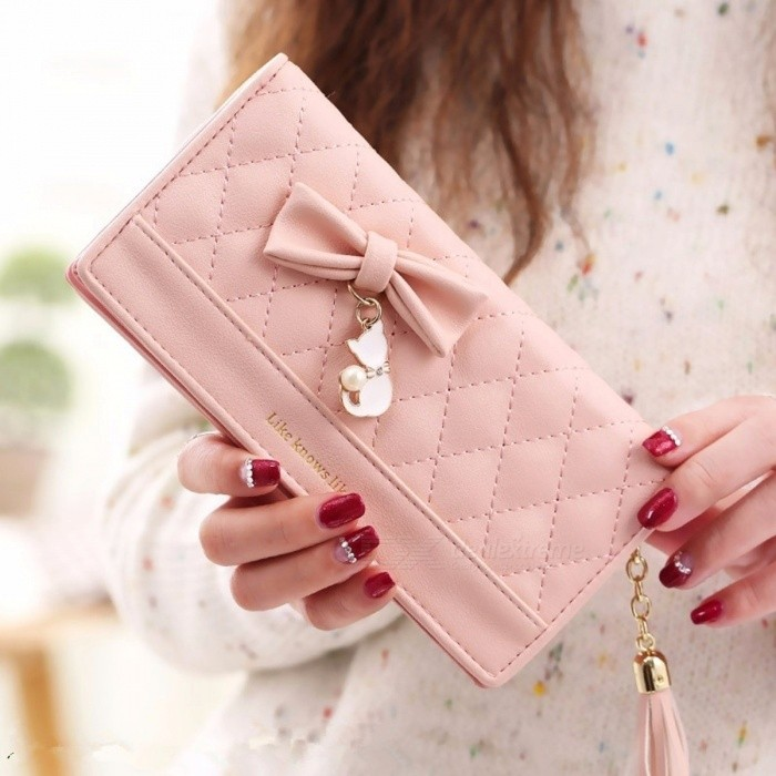Women Long Section Bow Cat Tassel Pendant Two Folding Coin Purse, Large Capacity Wallet Handbag Black