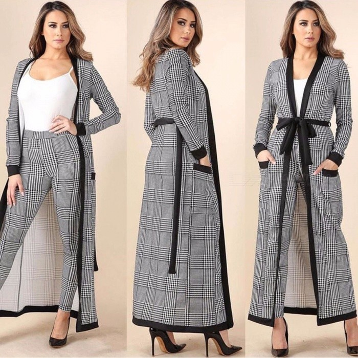 Classic Houndstooth 3-Piece Leisure Suit, Business Office Attire Set, High Quality Woman Fashion Suit Black
