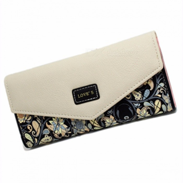 Envelope Shape Leather Women Wallet, 3 Folding Flower Printing Wallet, Long Coin Purse Wallet For Lady Watermelon