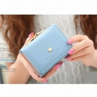 Short Section Ladies Purse, PU Leather Mini Envelope Wallet, Small Clutch Triple Folding Female Card Holder Wallet Pink