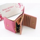 Short Section Ladies Purse, PU Leather Mini Envelope Wallet, Small Clutch Triple Folding Female Card Holder Wallet Black