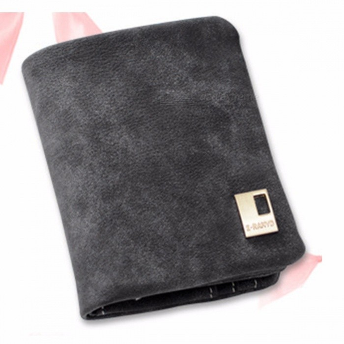 Short Section Ladies Purse, PU Leather Mini Frosted Wallet, Small Clutch Triple Folding Female Card Holder Wallet Black