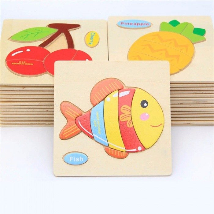Wooden Children Cartoon Animal Toys Traffic Three-dimensional Puzzles Infant Force Toddler Educational Toy For Children Multicolor
