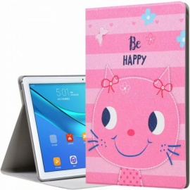 """Happy Kitty Pattern Color Painted Leather Tablet Case Shell for Huawei M5 10.8"""" Tablet PC - Pink"""