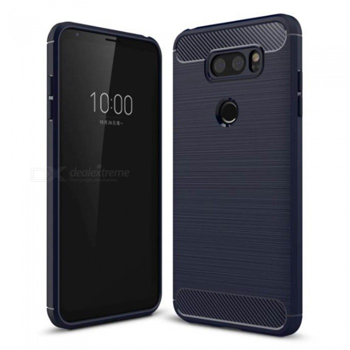 Naxtop Wire Drawing Carbon Fiber Textured TPU Brushed Finish Soft Phone Back Cover Case For LG V30S ThinQ
