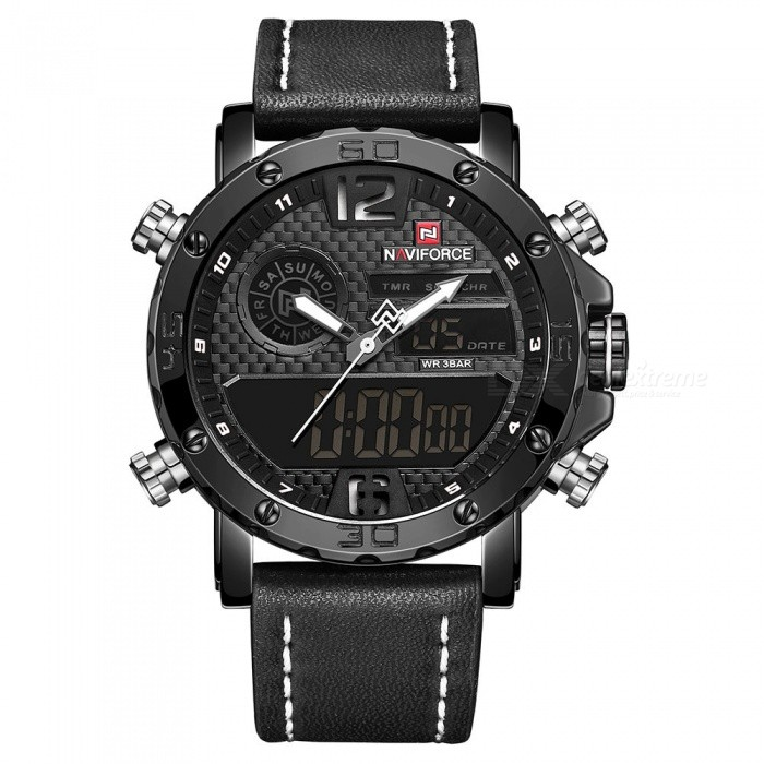 NAVIFORCE 9134 Men's Sports Leather Wrist Strap Analog Digital Quartz Watch