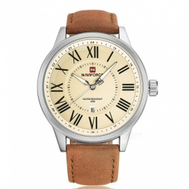 NAVIFORCE-9126-Mens-Sports-Leather-Wrist-Strap-Analog-Quartz-Watch-Silver-2b-Yellow-2b-Brown-(Without-Gift-Box)