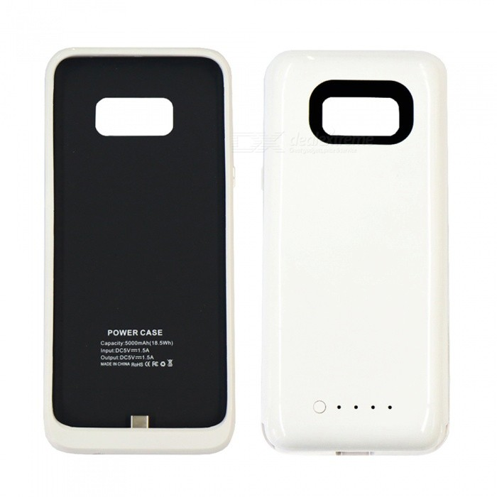 5V 5000mAh Thin Back-Mounted Emergency External Battery / Power Bank, Phone Case for Samsung S8 - White