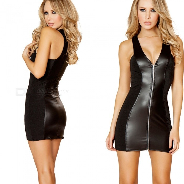 Pack Hip Nightclub Temptation Patent Leather Zipper Sexy Dress