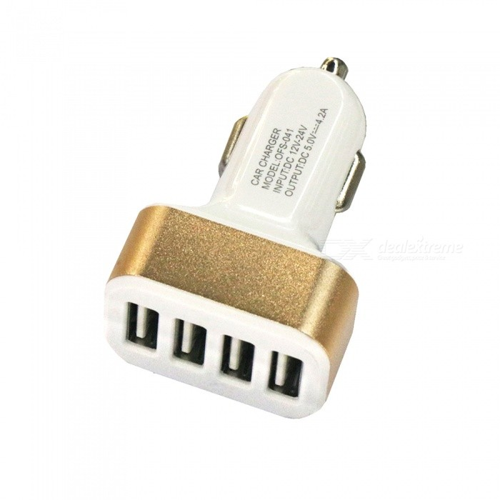 4 USB Ports DC12-24V Car Charger Mobile Phone Fast Charger - Gold