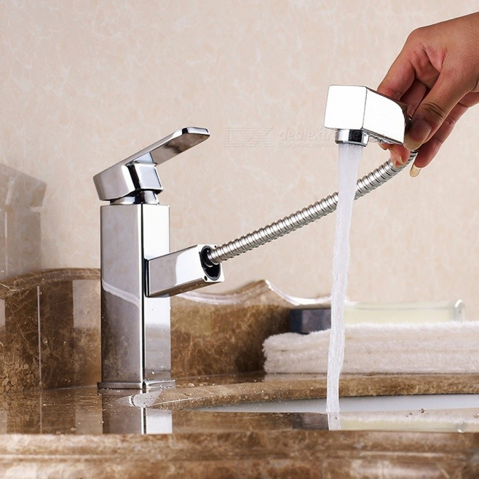 Brass Chrome Pull-out/­Pull-down Ceramic Valve Single Handle One-Hole Bathroom Sink Faucet