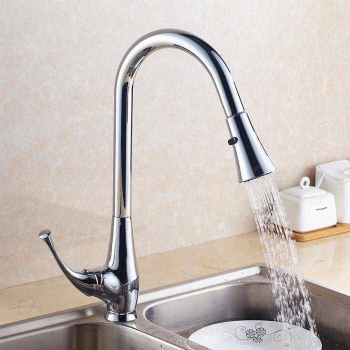 Brass Chrome Pull-out/­Pull-down 360 Degree Rotatable Single Handle One-Hole Kitchen Faucet with Ceramic Valve