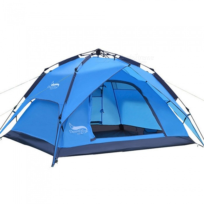 ESAMACT Outdoor Double Doors Automatic Camping Tent for 3-4 People - Blue