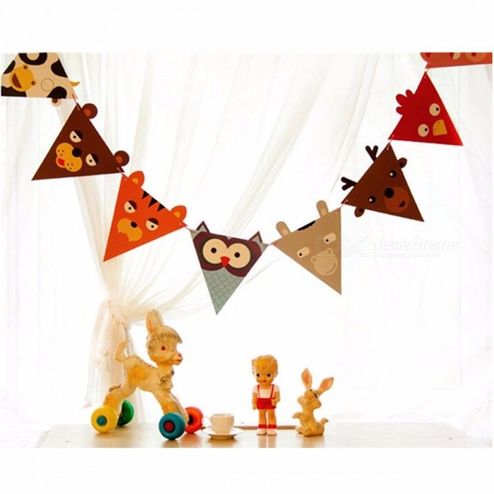 Cute Cartoon Animal Pattern Paper Color Banners Triangle Flags Wedding Bunting Decor Birthday Party Tent Decoration Multi