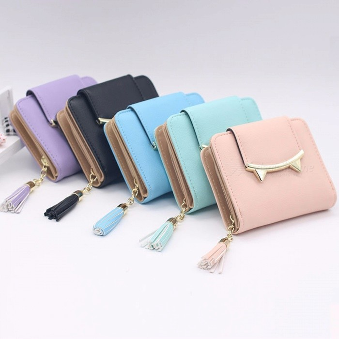 Women Wallet Cute Cat Ears Leather Short Tassel Small Day Clutch Trifold Female Purse ID Coin Card Holder Mini Bag Black