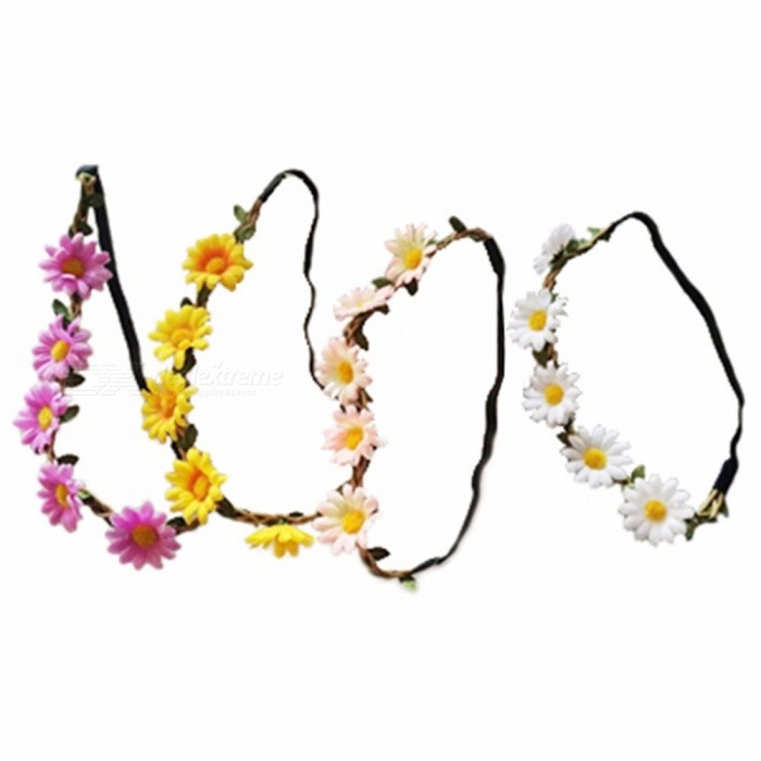 Boho Headband Flower Crown Headband 5 Flowers Daisy Braided Wedding Garland Hair Accessories For Women Pink