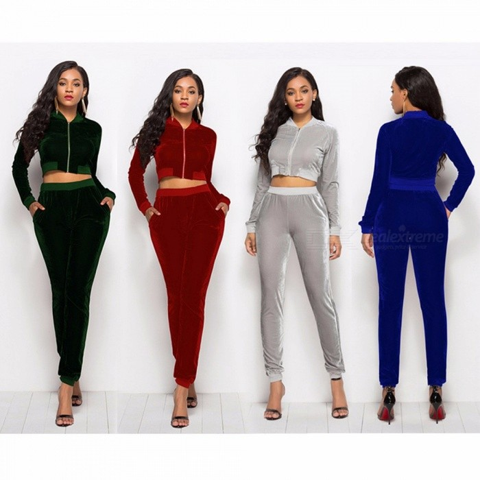 Sportswear Women Winter Autumn Clothes Casual Two-piece Pleuche Hooded Long-sleeved Short Top + Pants Clothes Suit Red/S
