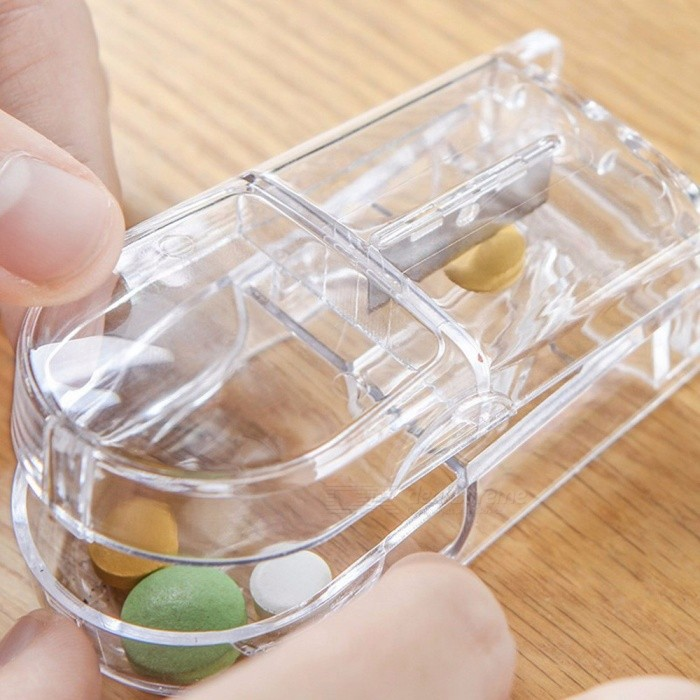 Creative Transparent Medicine Box Pill Splitter Cutter Tablet Dose Divide Compartment Storage Case Mini Size Transparent