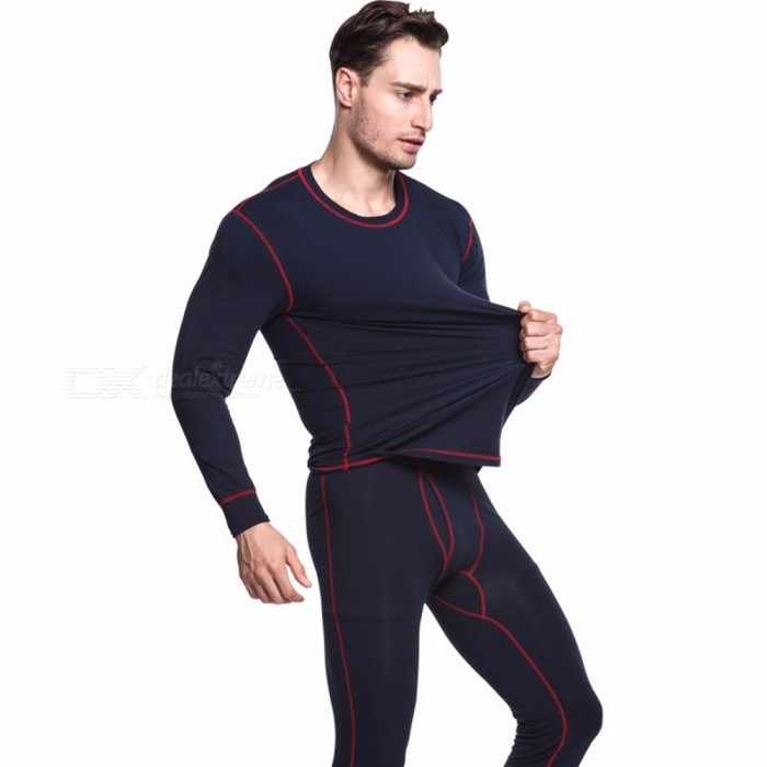 Thermal Underwear Men's Long Johns Men Winter Underwear Men Thermo Underwear Sets Warm BlackM