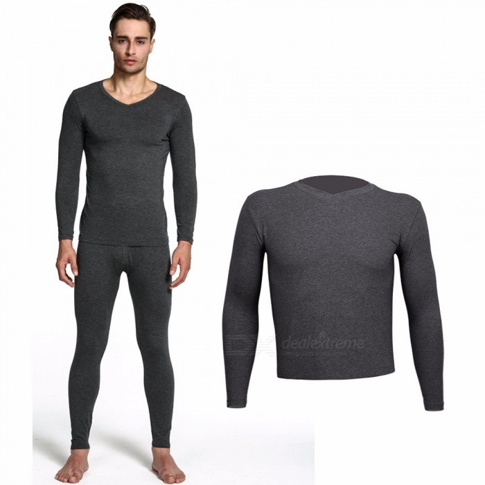 Thin Underwear Men's Long Johns Men Autumn Winter V-Neck Long Sleeve Tops Underwear Black/M