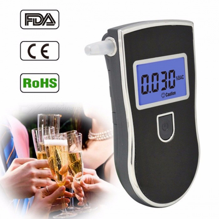 Portable Professional Police Digital Breath Alcohol Tester Breathalyzer Alcohol Detector With Blue Backlight