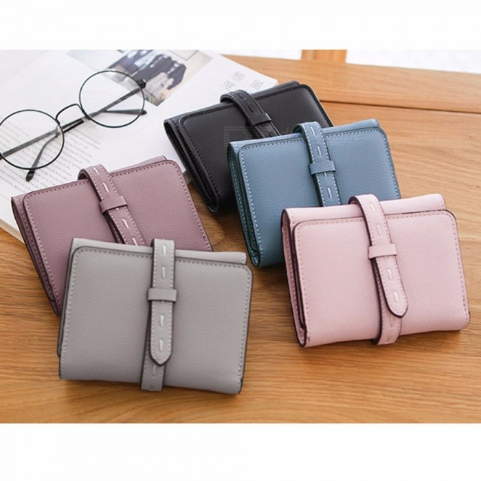 Short Wallet Korean Style 3 Fold Fashion PU Leather Womens Wallet Small Card Holder Bag Coin Purse for Girls