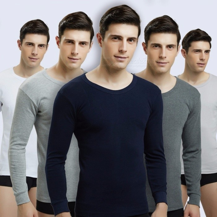 Men Thermal Undershirt Winter Autumn Crewneck Underwear Male Stretchy Cotton Undershirt Long Sleeve Tops For Men Navy/M