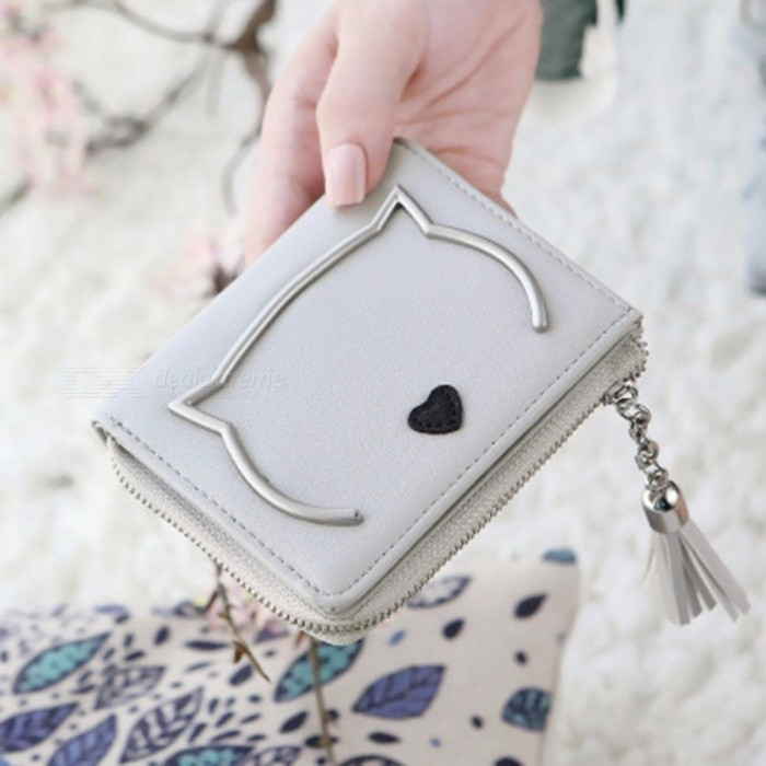 Cute Cat Anime PU Leather Two-fold Slim Mini Wallet Women Small Clutch Coin Purse Card Holder Tassel Chain Short Wallet