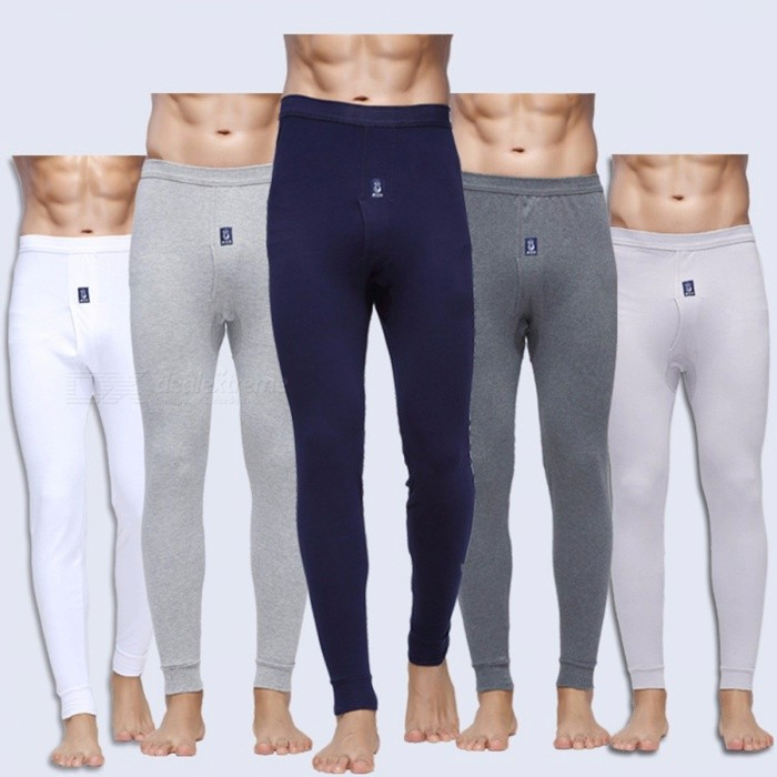 Mens Long Johns Cotton Thermal Underwear Slim Fit Pants Mens Thin Warm Underpants Long Underwear Pants - Gray