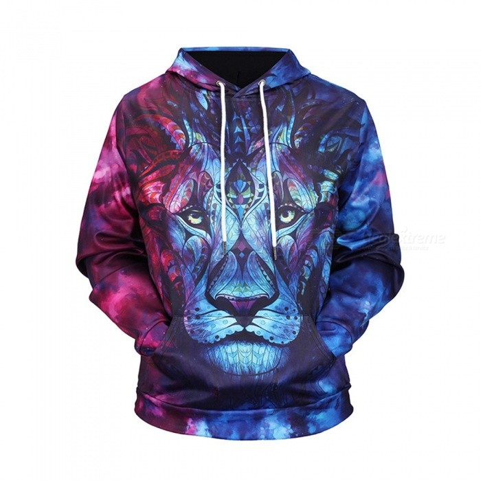 Autumn Winter Fashion Lion Head Digital Printing Men/Women Hooded Hoodies Cap Windbreaker Jacket 3d Sweatshirts - Multi