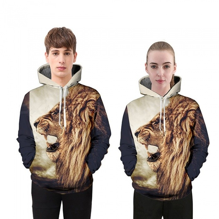 Autumn Winter Fashion Lion Digital Printing Men/Women Hooded Hoodies Cap Windbreaker Jacket 3d Sweatshirts Multi/M