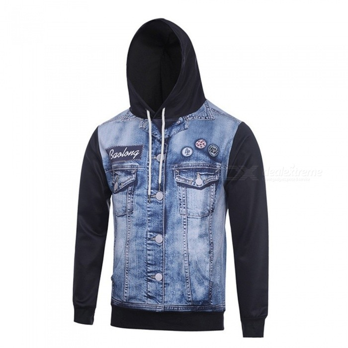 Autumn Winter Fashion Cowboy Digital Printing Men Hooded Hoodies Cap Windbreaker Jacket 3d Sweatshirts Multi/M