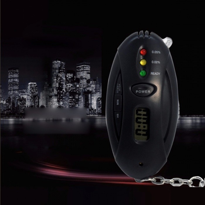 Mini Portable Multifunction Keychain LED Alcohol Breath Tester Breathalyzer Detector With Time Clock And Flashlight