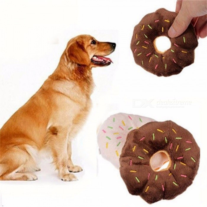 Pet Dog Chew Throw Toys Funny Cute Donuts Puppy Cat Squeaker Squeaky Plush Sound Toys 1314CM