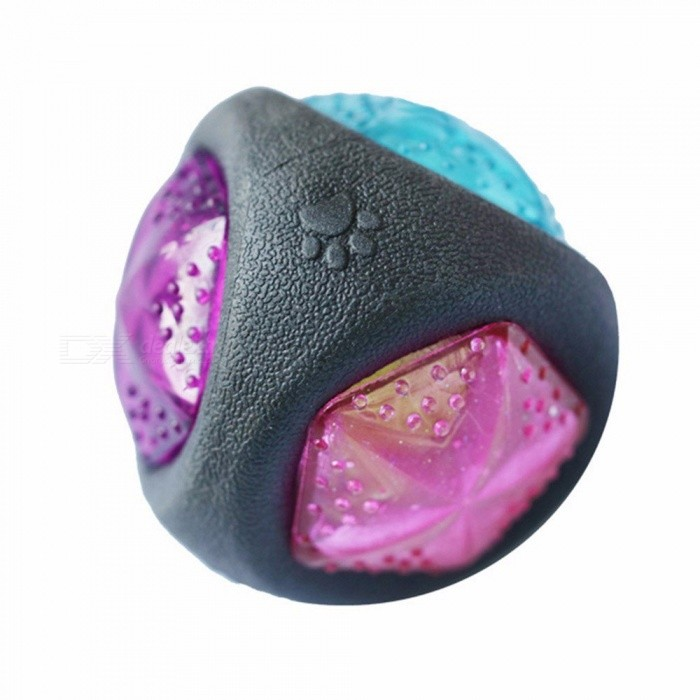 Luminous Dog Toys Durable Rubber Bouncy Bite- Resistant Dog Chewing Ball Dog Training Pet Toys With Sound And Light 7.6CM