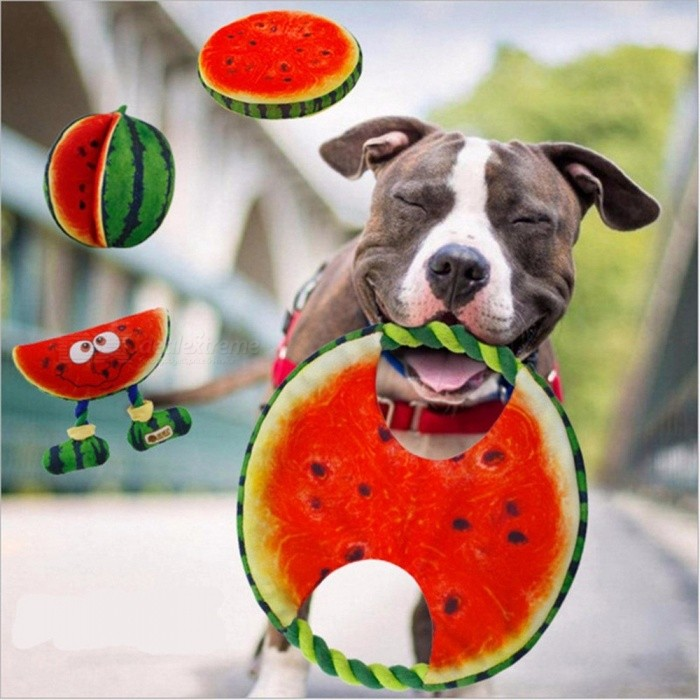 Diameter 19cm Canvas Watermelon Designed Dog Toys Pet Chewer Teething Aid Tug Rope Red