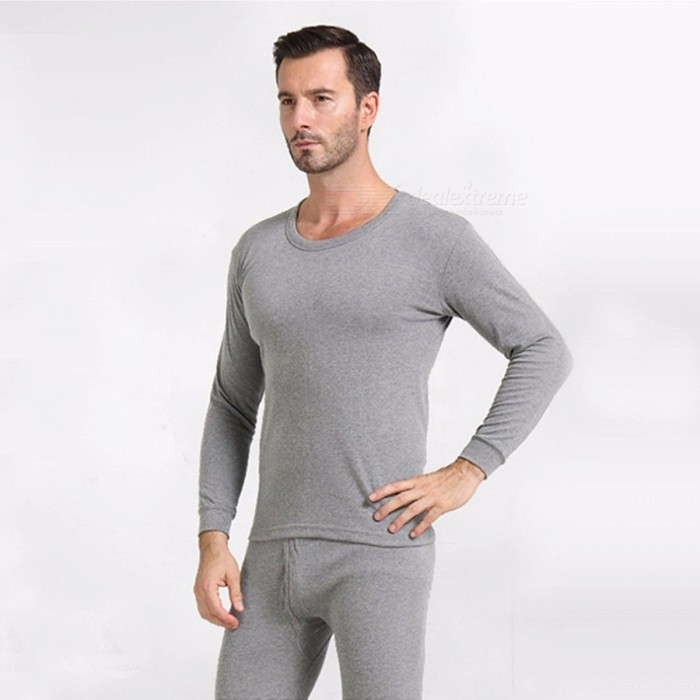 Autumn Cotton Long Johns Sets For Men Warm Thermal Underwear Sets Long Sleeve Thermal Underwear Gray/L