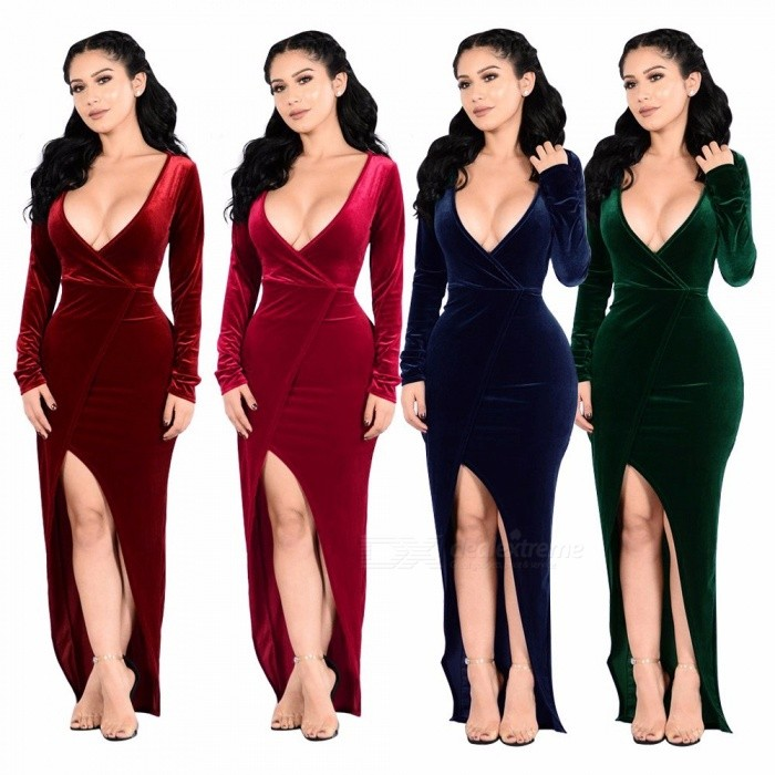High-end Pleuche Dresses For Women Autumn Christmas Long Sleeve V Collar Temperament Evening Dresses Green/M