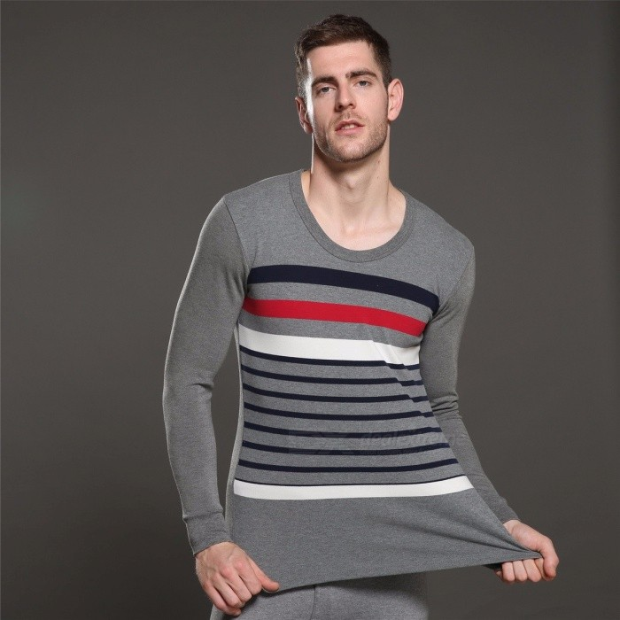 32 Branches Combed Cotton Thermal Underwear Set With Double Jacquard For Men Autumn Stripe Long Johns Blue/L