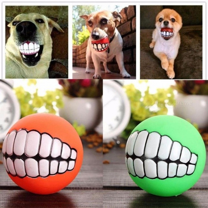 Funny Pet Dog Puppy Cat Ball Teeth Toy, PVC Chew Sound Dog Play Fetching Squeak Toy, Pet Supplies