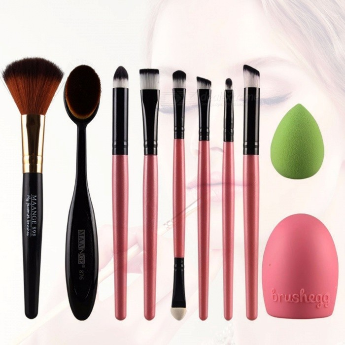 MAANGE Professional 10Pcs Makeup Brush Set Tools, Make-up Toiletry Kit, Soft Synthetic Hair Make Up Brush Set Random Color