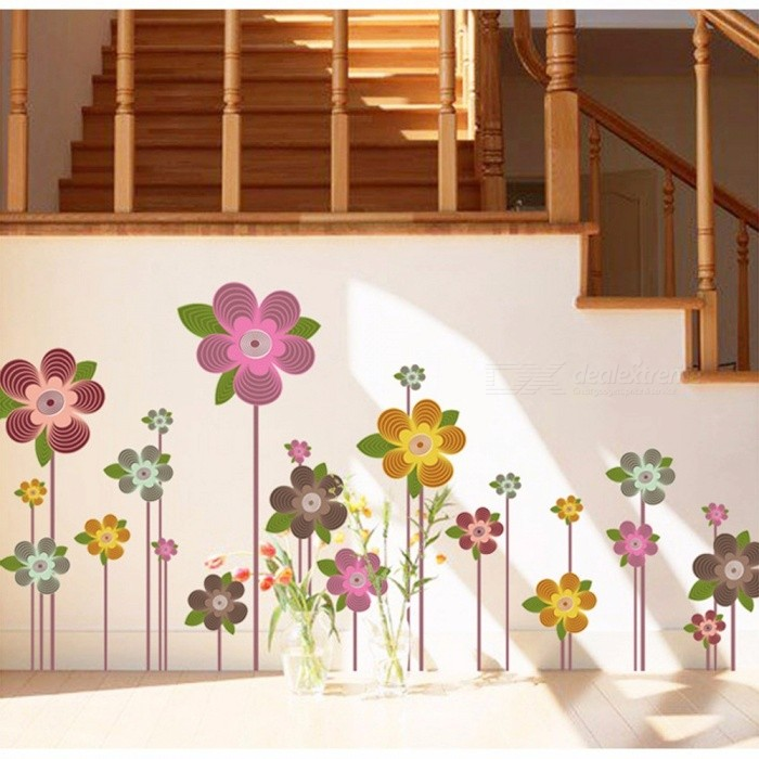 Flower PVC Wallpaper Wall Sticker Poster Decal For Living Room Bedroom Bathroom Home Decor Decoration Multi