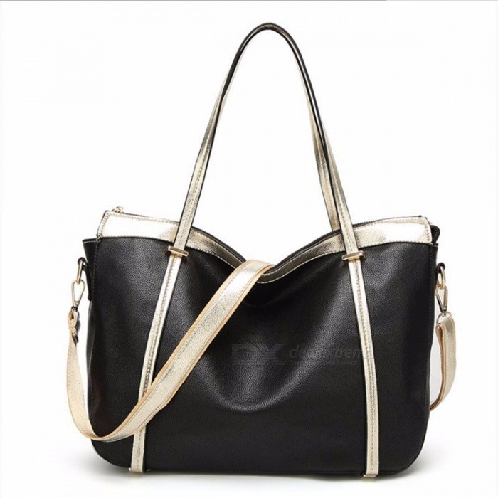 Womens-Elegant-Stylish-Handbag-Simple-Casual-PU-Leather-Female-Bag-Black
