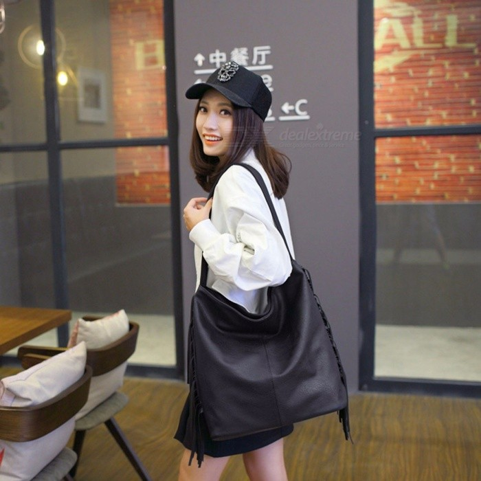 Simple Stylish One Shoulder Bag Casual Cool PU Leather Bag For Women Black